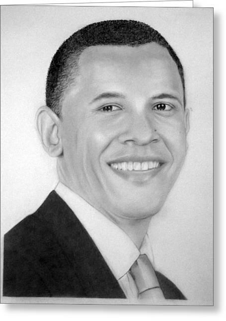 Barack Obama Drawings Greeting Cards - Barack Greeting Card by Kendrick Roy