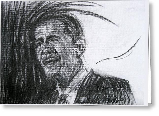 Barack Obama 1 Greeting Card by Michael Morgan