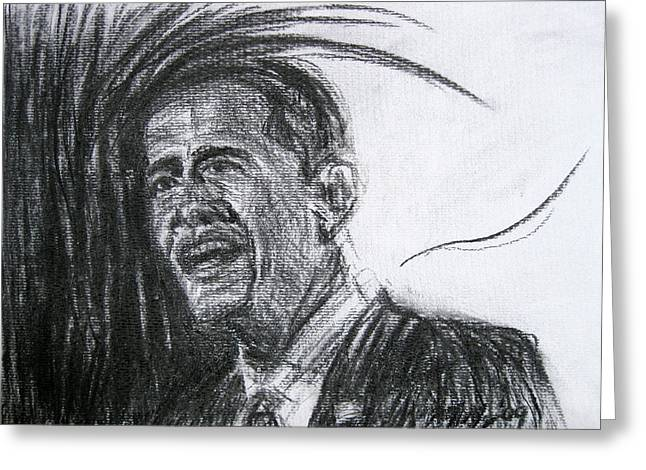 Barack Obama 1 Greeting Card by Michael Morgan