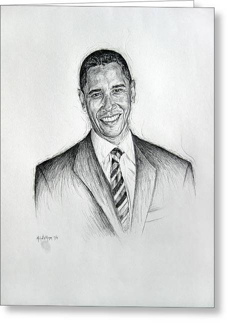 Barrack-obama Greeting Cards - Barack Obama 2 Greeting Card by Michael Morgan