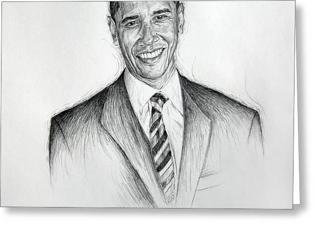 Barack Obama 2 Greeting Card by Michael Morgan