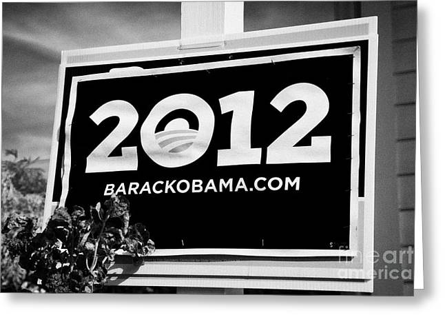 2012 Presidential Race Greeting Cards - Barack Obama 2012 Us Presidential Election Poster Florida Usa Greeting Card by Joe Fox