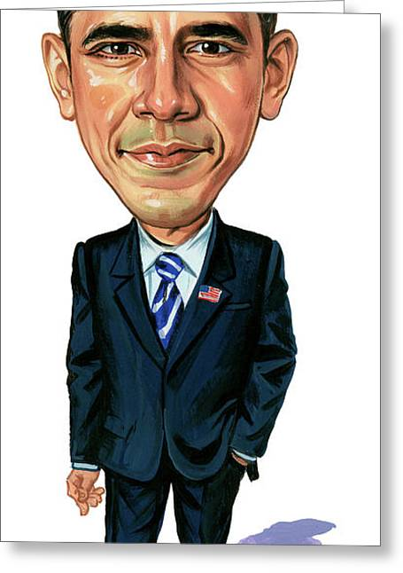President Obama Greeting Cards - Barack Obama Greeting Card by Art