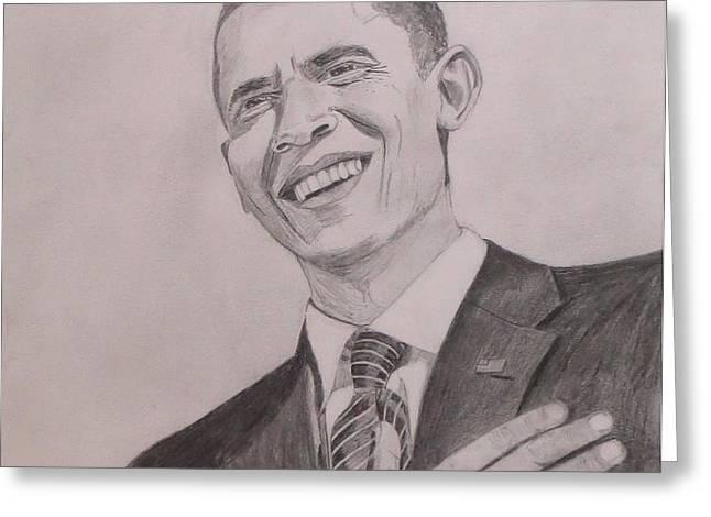 Barack Obama Greeting Card by Artistic Indian Nurse