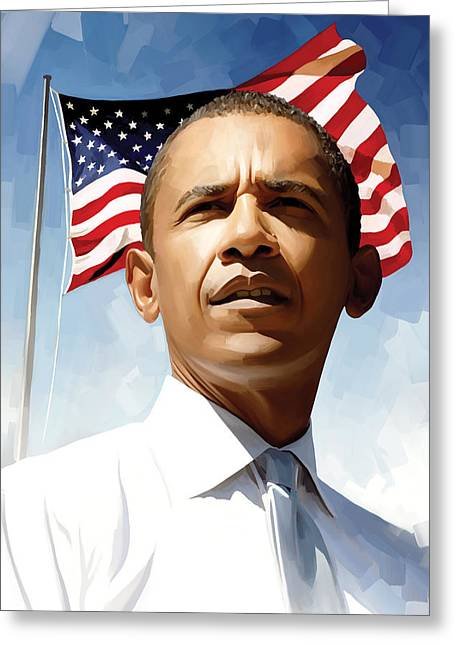 President Obama Greeting Cards - Barack Obama Artwork 1 Greeting Card by Sheraz A