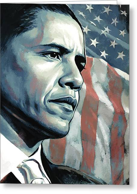 President Obama Greeting Cards - Barack Obama Artwork 2 B Greeting Card by Sheraz A