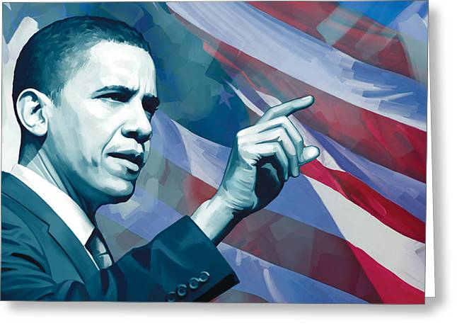 President Obama Greeting Cards - Barack Obama Artwork 2 Greeting Card by Sheraz A