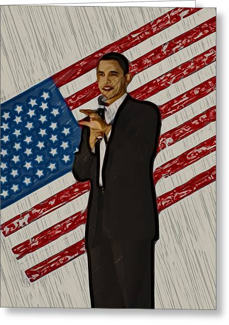 Barack Greeting Cards - Barack Obama Greeting Card by Brad Barton