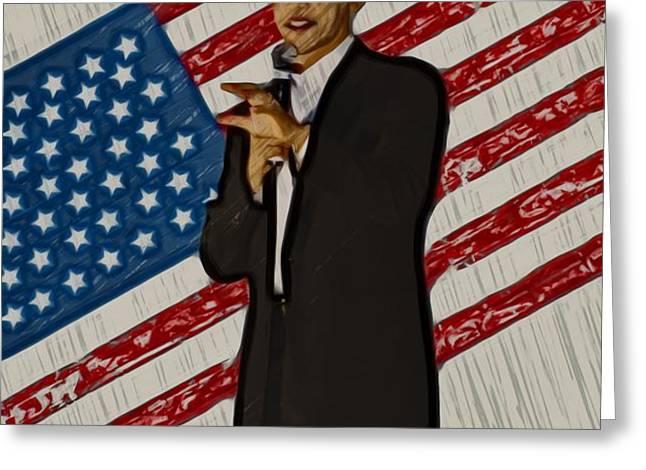 Barack Obama Greeting Card by Brad Barton