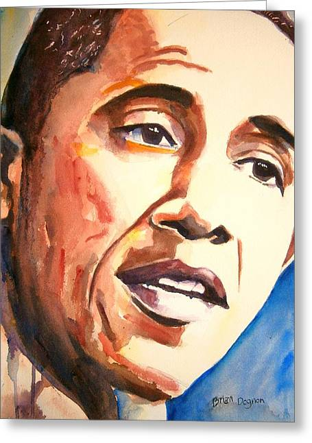 Barack Obama Greeting Card by Brian Degnon