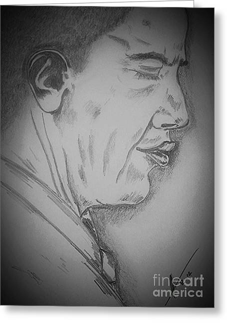 Barack Obama Drawings Greeting Cards - Barack Obama Greeting Card by Collin A Clarke