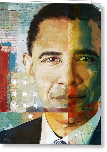Global Greens Greeting Cards - Barack Obama Greeting Card by Corporate Art Task Force