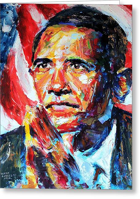 Presidential Race Greeting Cards - Barack Obama Greeting Card by Derek Russell