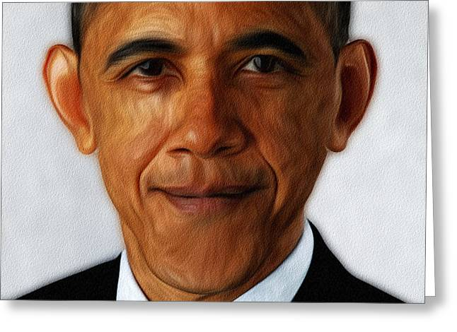 Barack Obama Greeting Card by Digital Reproductions