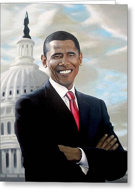 Barack Greeting Cards - Barack Obama Greeting Card by Frank Mwamba