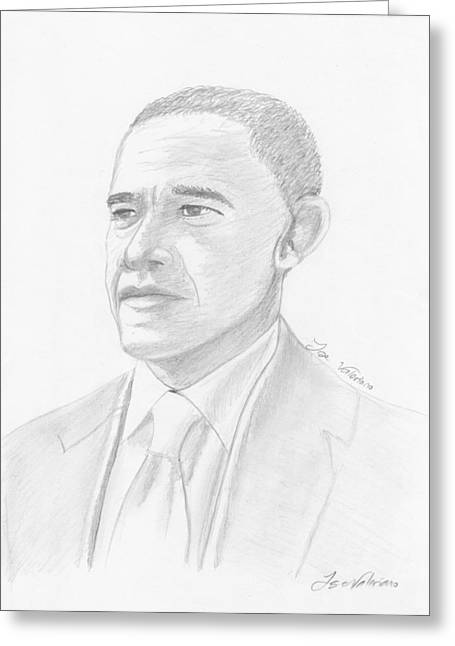 Portrait Art Greeting Cards - Barack Obama Greeting Card by Jose Valeriano