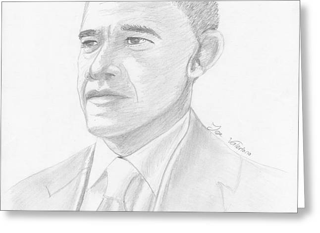 Barack Obama Greeting Card by Jose Valeriano