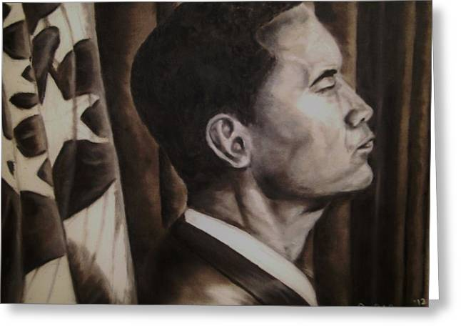 Future Leader Greeting Cards - Barack Obama Greeting Card by Larry Silver