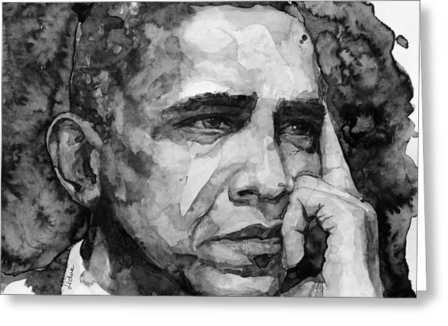 Barack Greeting Cards - Barack Obama Greeting Card by Laur Iduc