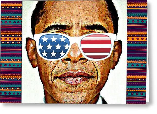 Barack Obama Greeting Card by Nuno Marques