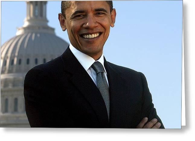 Barack Obama Greeting Card by Tilen Hrovatic