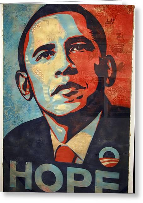 Barack Greeting Cards - Barack Obamas Hope Greeting Card by Cora Wandel