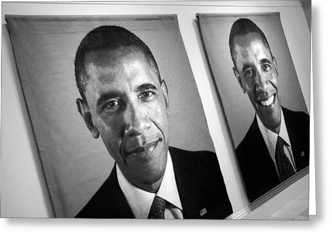 Barack Greeting Cards - Barack Obamas Winning Faces Greeting Card by Cora Wandel