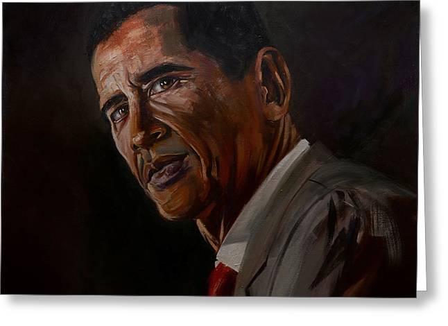 Barak Obama Greeting Card by Paul Whitehead