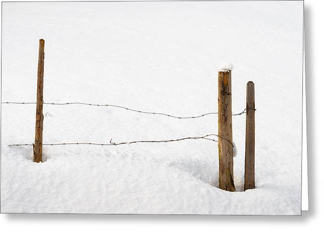 Barbed Wire Fences Greeting Cards - Barb wire fence in winter minimalist image Greeting Card by Matthias Hauser