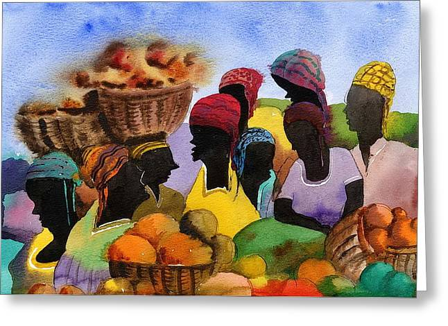 Val Byrne Greeting Cards - Barbados Market 1  WI Greeting Card by Val Byrne