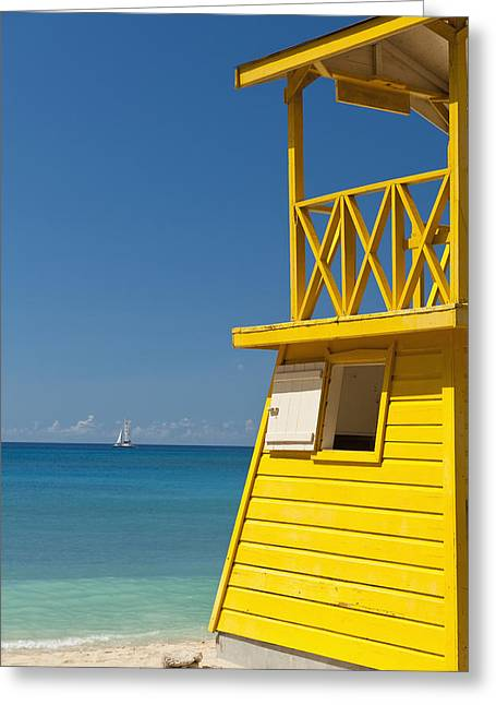 Yellow Sailboats Greeting Cards - Barbados, Oistins, Lifeguards Tower Greeting Card by Ian Cumming