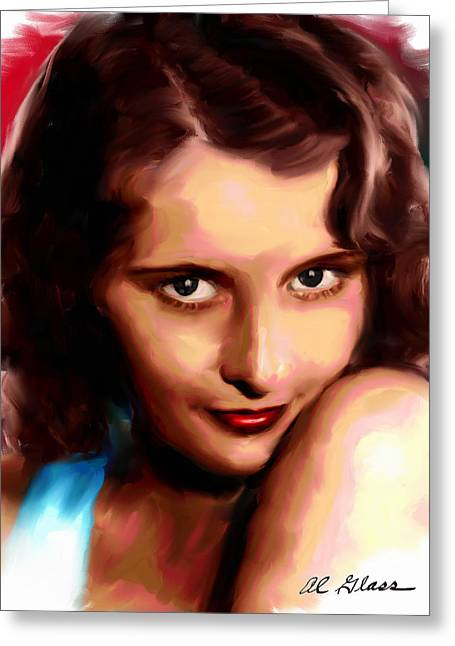 Allen Glass Greeting Cards - Barbara Stanwyck Greeting Card by Allen Glass