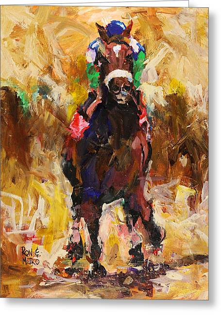 Kentucky Paintings Greeting Cards - Barbaro Greeting Card by Ron and Metro