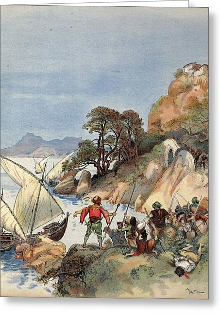 Pirates Drawings Greeting Cards - Barbary Pirates Terrorizing The Coast Greeting Card by Albert Robida