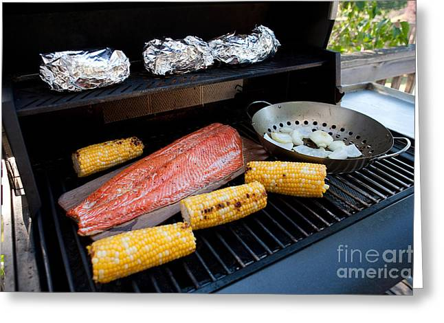 State Dinners Greeting Cards - Barbecue Grill Greeting Card by Jim Corwin