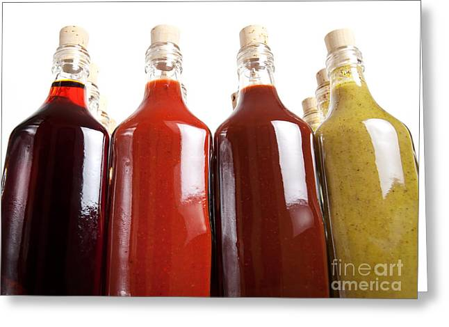 Vinegar Greeting Cards - Barbecue hot sauces Greeting Card by Sinisa Botas