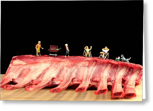 Rack Greeting Cards - Barbecue on lamb ribs Greeting Card by Paul Ge