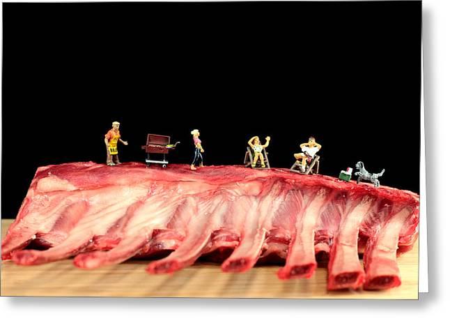 Macro Micro Greeting Cards - Barbecue on lamb ribs Greeting Card by Paul Ge