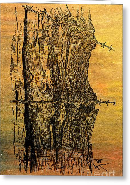 Barbed Wire Fences Mixed Media Greeting Cards - Barbed Life Greeting Card by R Kyllo