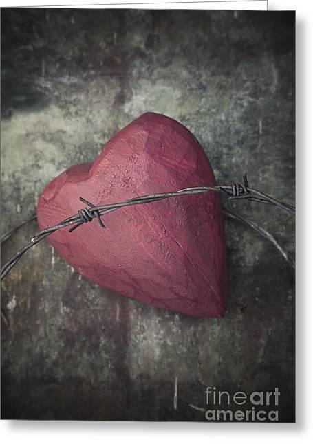 Divorce Greeting Cards - Barbed wire and heart Greeting Card by Maria Heyens