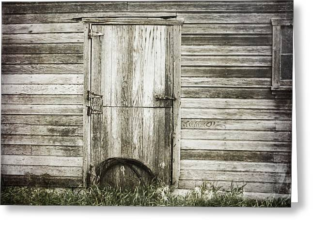 Barn Door Digital Greeting Cards - Barbed Wire Greeting Card by Julie Hamilton