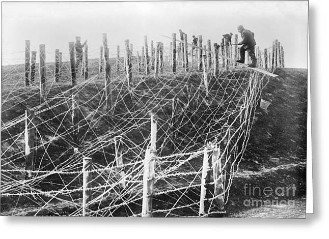 Trench Warfare Greeting Cards - Barbed Wire Trench Defences, World War I Greeting Card by Library Of Congress