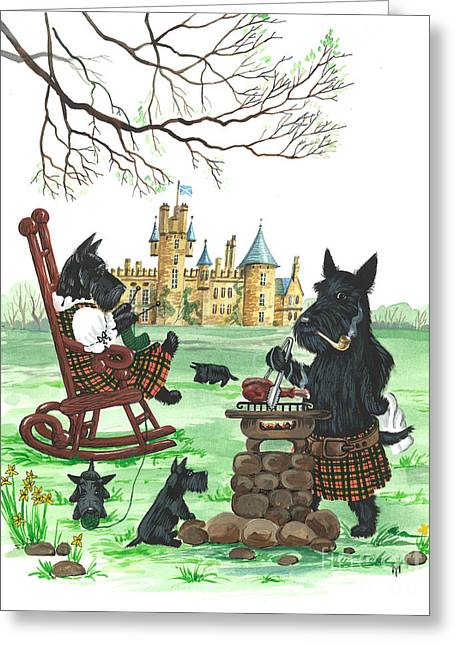 Scottish Terrier Puppy Greeting Cards - Barbeque MacDuff Greeting Card by Margaryta Yermolayeva