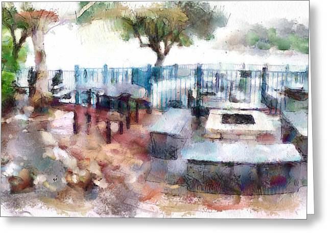 Island Imagination Greeting Cards - Barbeque PLace at Lamma Island Beach Greeting Card by Yury Malkov