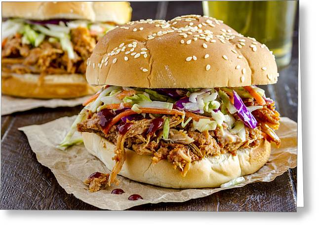 Pulled Pork Barbecue Greeting Cards - Barbeque Pulled Pork Sandwiches and Beer  Greeting Card by Teri Virbickis