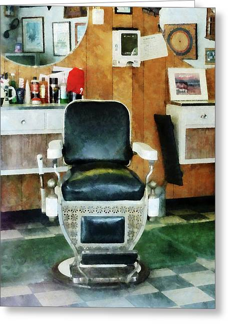 Barber - Barber Chair Front View Greeting Card by Susan Savad