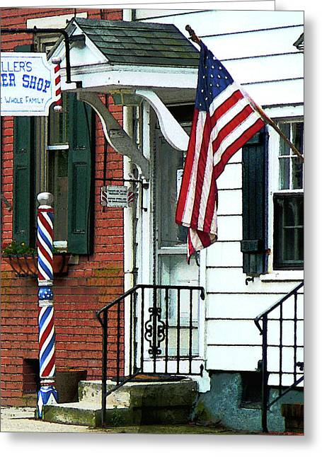 American Flags Greeting Cards - Barber - Barber Shop Entrance Greeting Card by Susan Savad