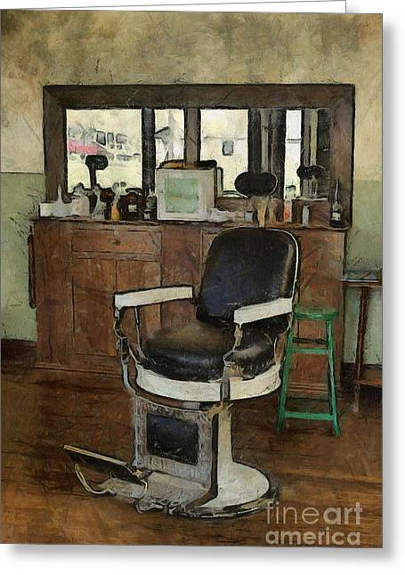 Barberchair Greeting Cards - Barber - Barber Shop Greeting Card by Liane Wright