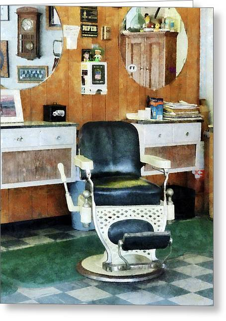 Barberchair Greeting Cards - Barber - Barber Shop One Chair Greeting Card by Susan Savad