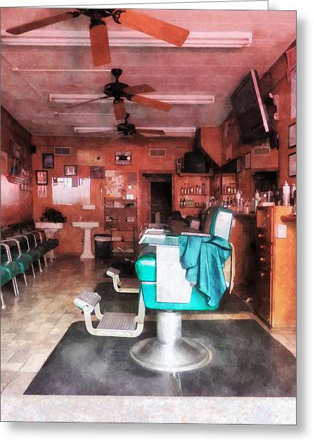Barberchair Greeting Cards - Barber - Barber Shop With Green Barber Chairs Greeting Card by Susan Savad